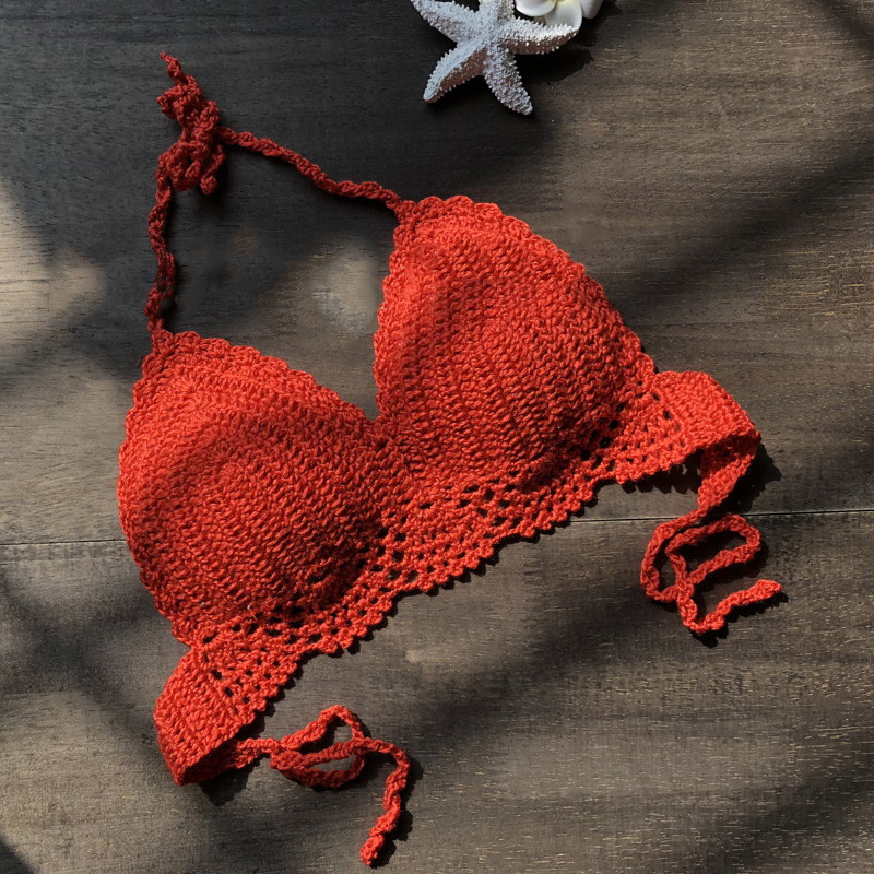 Hot Sexy Bras Women Bikini Top One-Piece Casual Halter Bra Hand-crocheted Summer Beachwear Swimwear