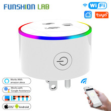 Funshion WiFi Smart Plug Outlet Power Socket  With LED Smart Life/Tuya App Remote Control Work with Alexa Google Home