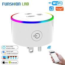 Funshion wifi tomada inteligente tomada de energia com led vida inteligente/tuya app trabalho controle remoto com alexa google casa