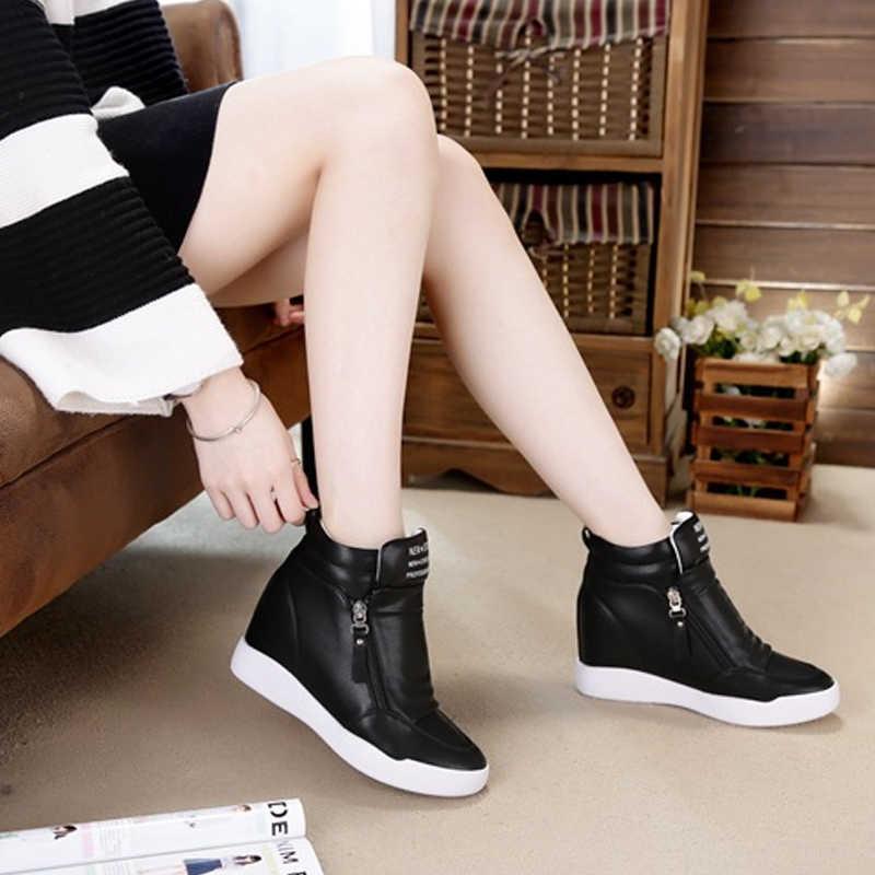 Fujin/2019 г.; сезон лето-осень; ботинки на танкетке; женская обувь на платформе, увеличивающая рост; женская модная повседневная обувь на молнии; botas