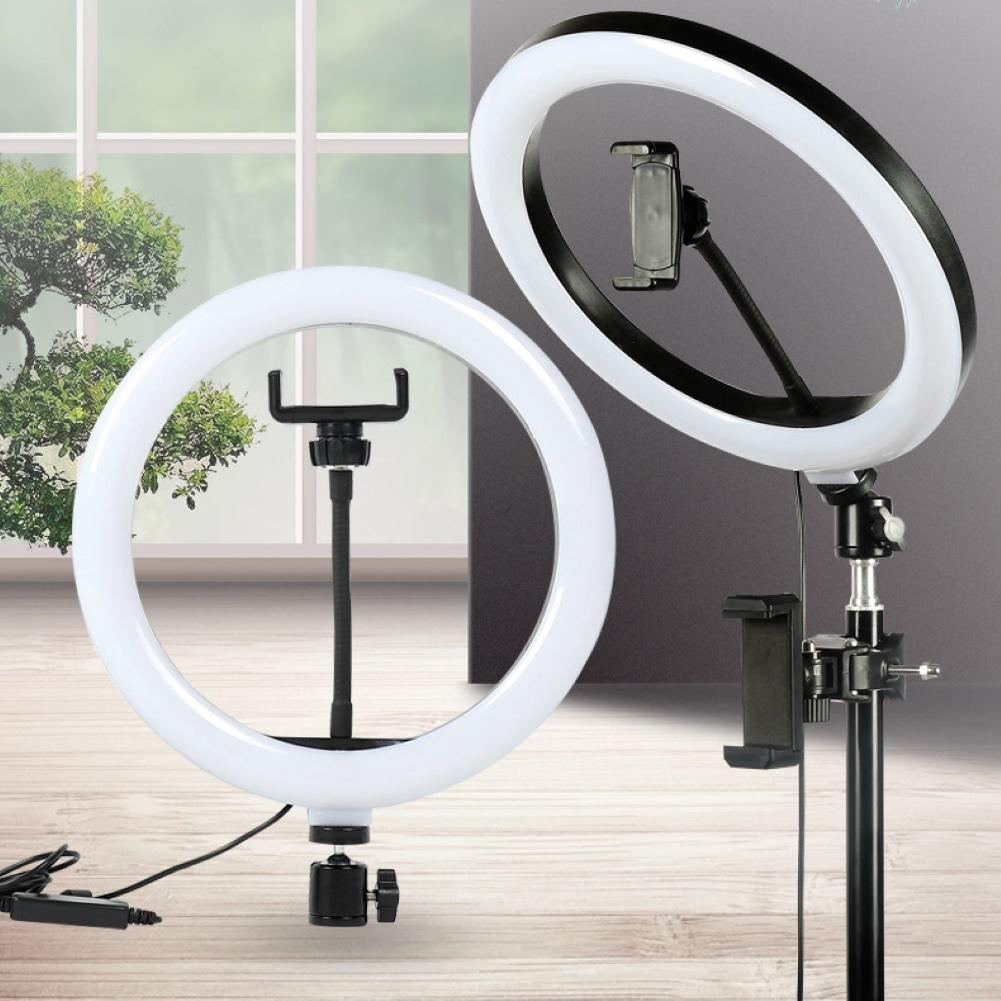 Photography LED Selfie Ring Light 26CM Dimmable Camera Phone Ring Lamp With Table Tripods For Makeup Video Live Studio