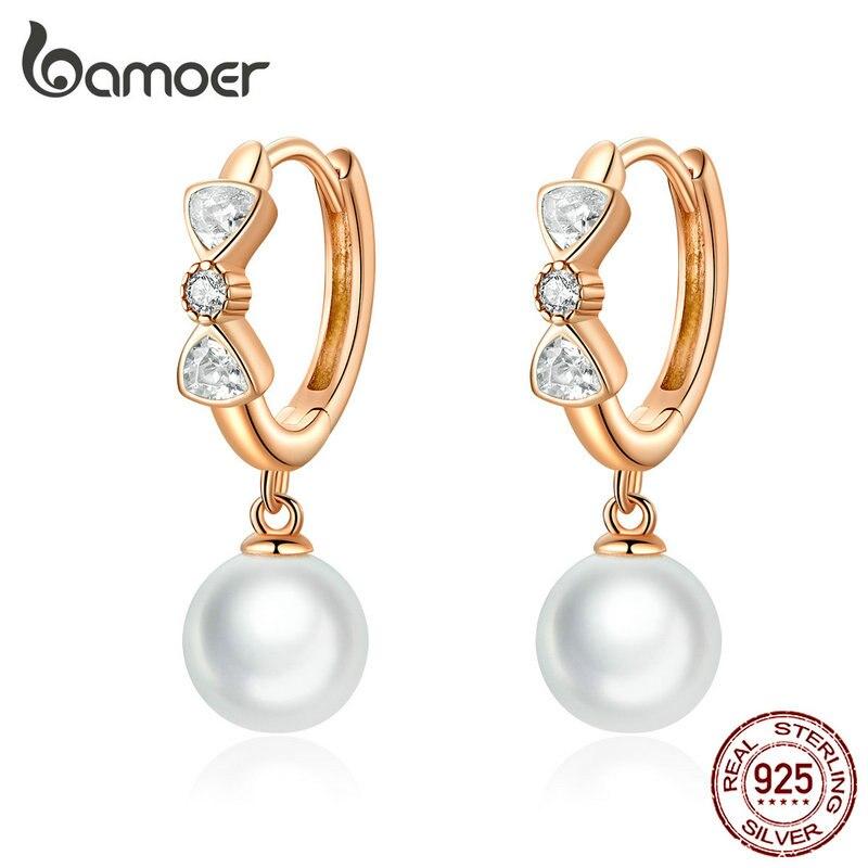 Bamoer Pearl Dangle Earrings For Women 925 Sterling Silver Bowknot Wedding Elegant Fine Jewelry Brincos Bijoux 2019 BSE283