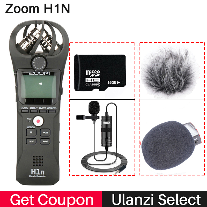 ZOOM H1N Handy Recorder Digital Camera Audio Recorder Interview Recording Stereo Microphone For DSLR Boya BY-M1 Microphone