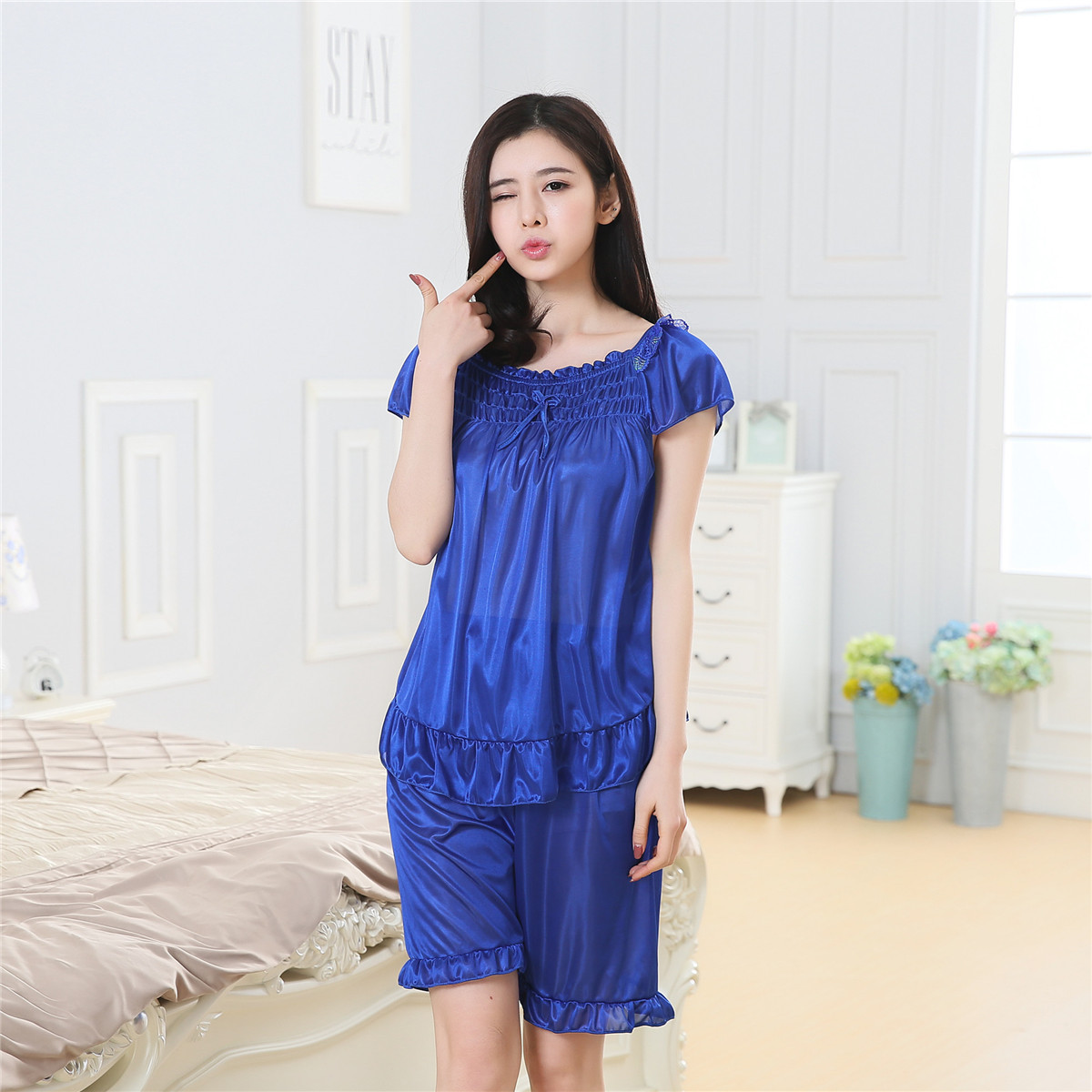 Factory Price Direct Selling Summer Thin Section Viscose Pajamas Suit Women's Sexy Comfortable Cool And Refreshing Two-Piece Set