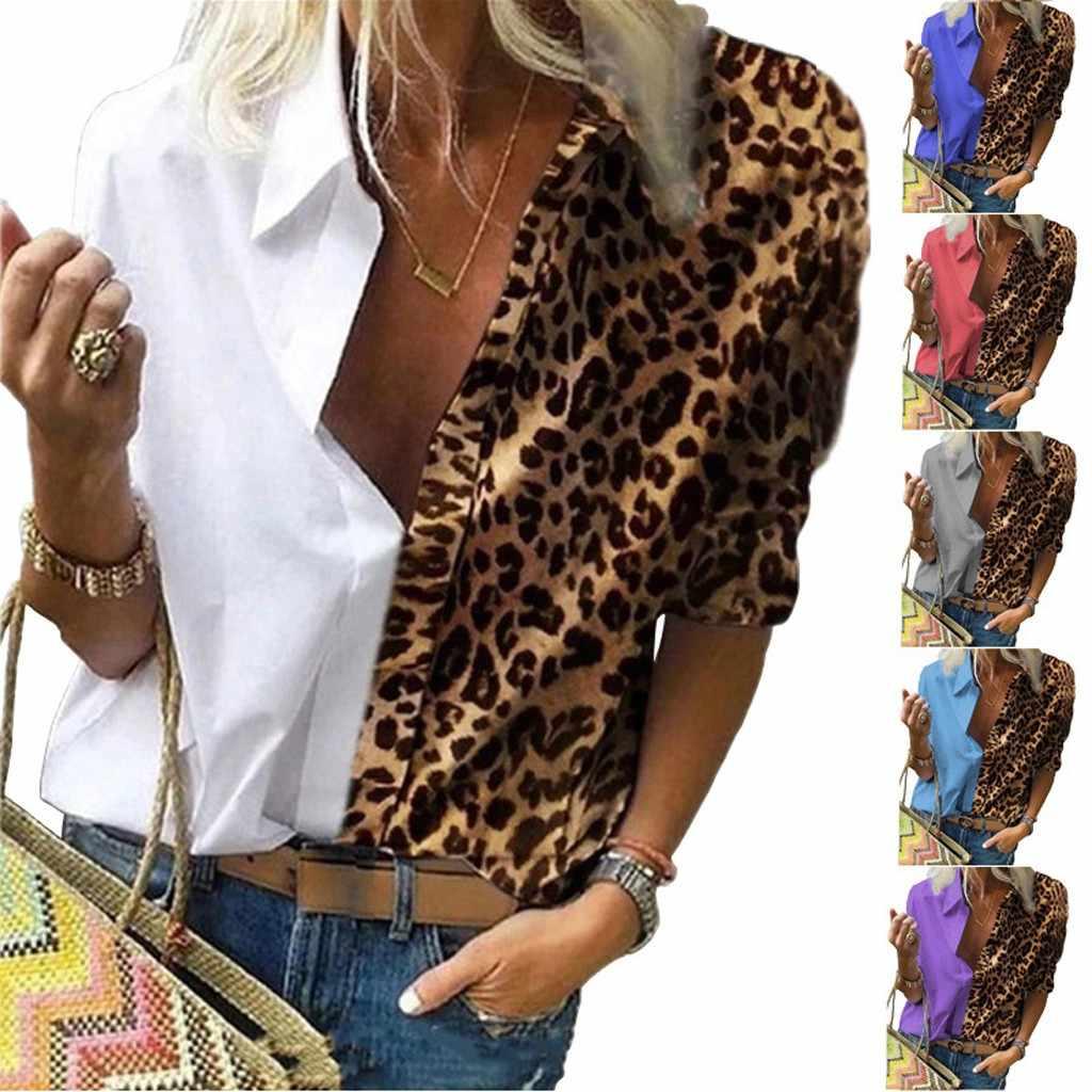 Damen O Neck Lange Ärmel Top Shirt Bluse Hemd Patchwork Holiday Lose Top Tunika