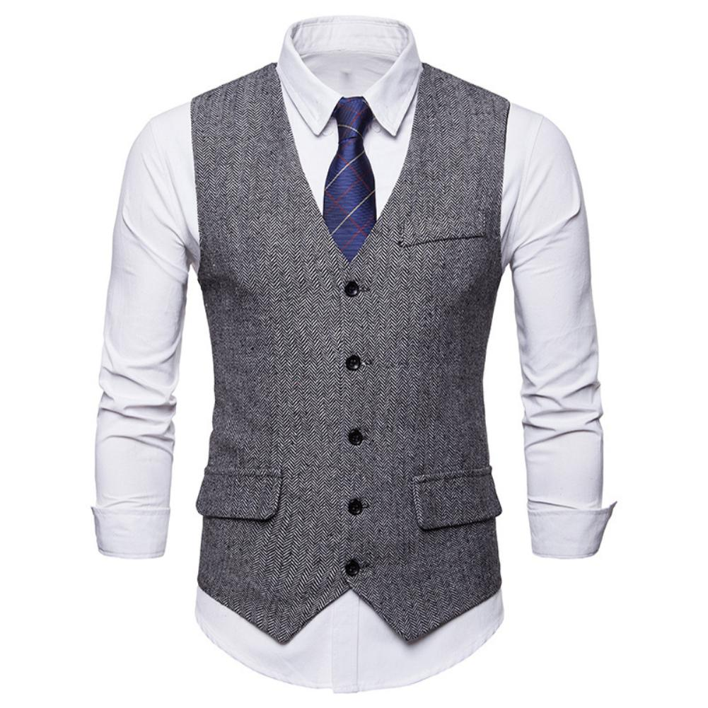 Fashion Suit Vest Men Formal Dress Vest Colete Single-breasted Herringbone Gilet Fitness Sleeveless Jacket Wedding Waistcoat Men