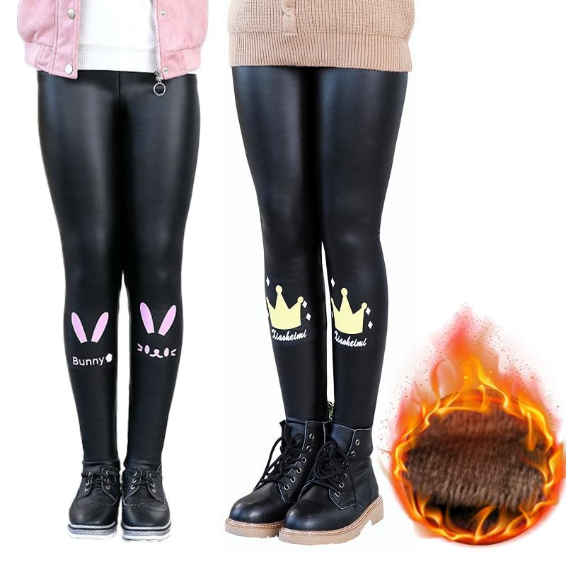 Girls Faux PU Leather Leggings Winter Thick Fleece Lined Skinny Pants Cartoon Print Kids Stretchy Legging Black 1
