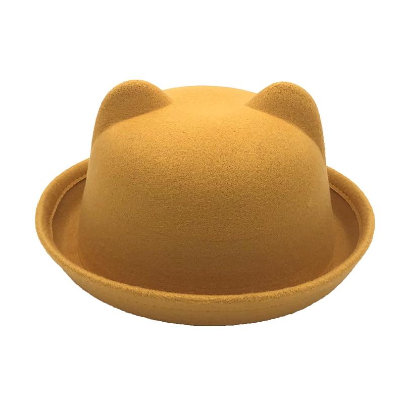 2019 New Arrival Women Winter Autumn Unique Cute Wool Felt Cat Ears Hat Cap Christmas Fodoras Bucket Caps For Girls Hats