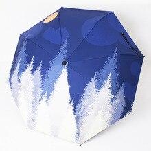 Folding Umbrella Sunscreen Anti-UV Waterproof Women Umbrellas Parasol Creative Fashion Teenage Girl Moonlight Forest