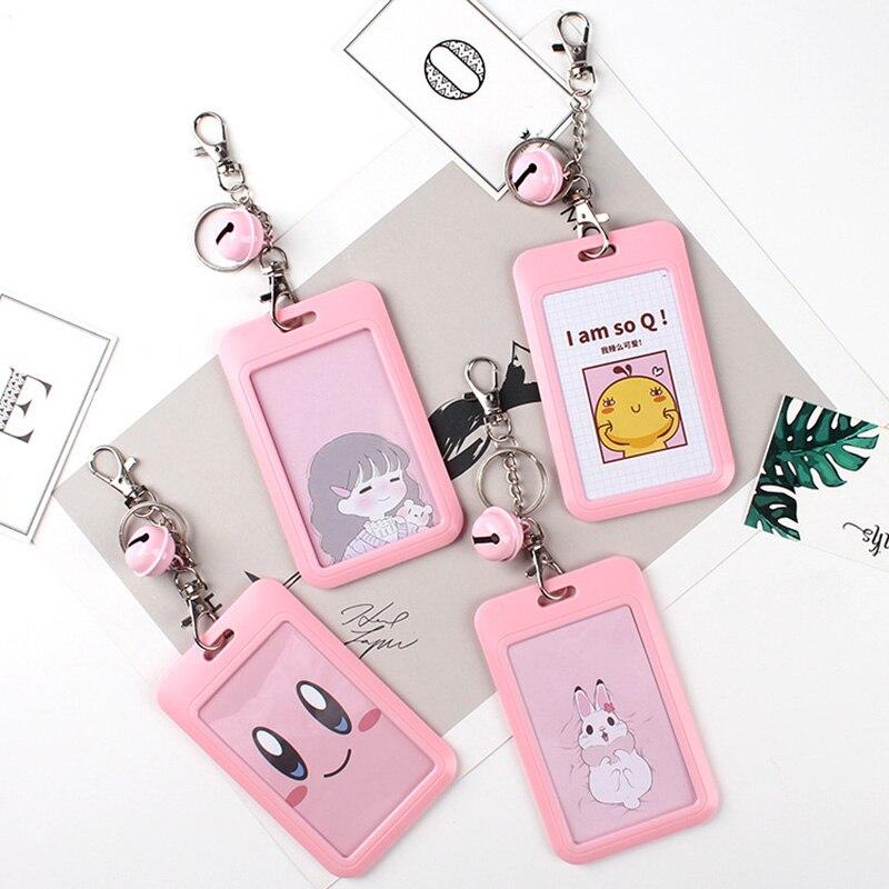 1 PC Bank Credit Card Holder Bus ID Cards Holders Women Men Fashion Card Bags Keychain Cute Cartoon Card Case Key Chain Ring (23)