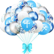 18/30 pçs abençoar cruz balões de páscoa metal ouro confetes ouro prata balão para o feriado cristão festa celebração decoração
