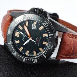 Parnis 44mm czarna obudowa automatyczny Diver Men Watch wodoodporny 200m metalowe mechaniczne męskie zegarki szafirowe szkło skórzany pasek człowiek