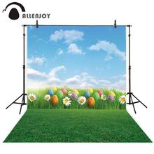 Allenjoy photophone backdrop Spring colorful easter egg blue sky clouds Daisy flower photography background photobooth photocall daisy flower and blue sky round mouse pad