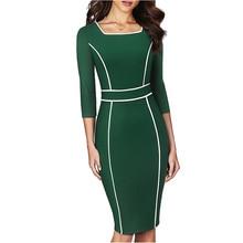 Women Elegant patchwork office lady Dress Casual Fitted sheath bodycon Pencil Dress EB551