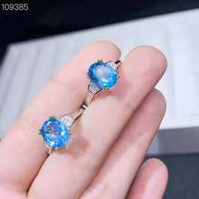 Silver S925 Fine Jewelry Natural Topza Blue Gems Ring 1pc 7x9mm(China)