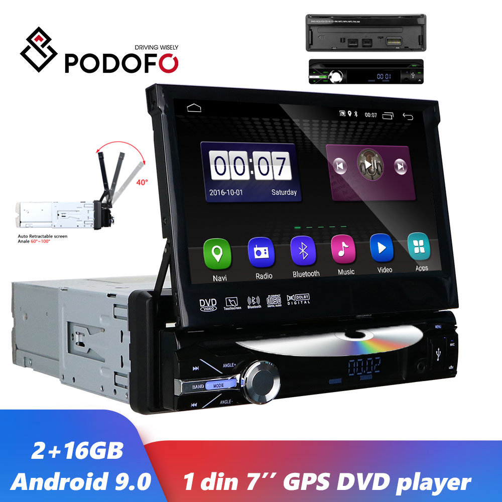 Podofo Android 9.0 Car DVD Multimedia player 1 Din GPS Navigation Wifi Autoradio 7 inch Universal FM Audio Radios Stereo image