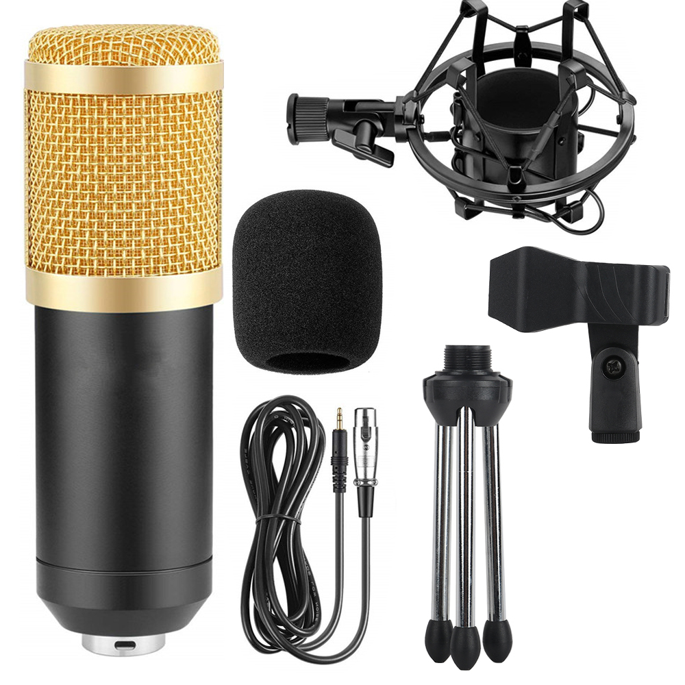 Professional Computer Electronic Microphone Gevo BM800, Wired 3.5 Mm Microphone Research Tripod Capacitor, Portable Karaoke Comp