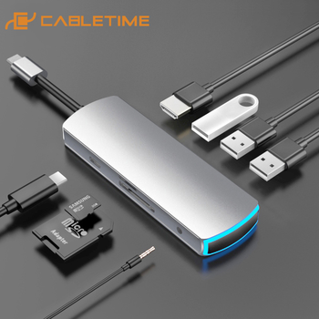 CABLETIME USB C HUB Type C to Multi USB 3.0 HUB HDMI Adapter Dock  for MacBook Pro Air USB-C 3.1 Splitter Port Type C HUB C282 data frog hdmi type c adapter for nintend switch hub usb c to hdmi mini dock station hd transfer for macbook xiaomi laptop phone