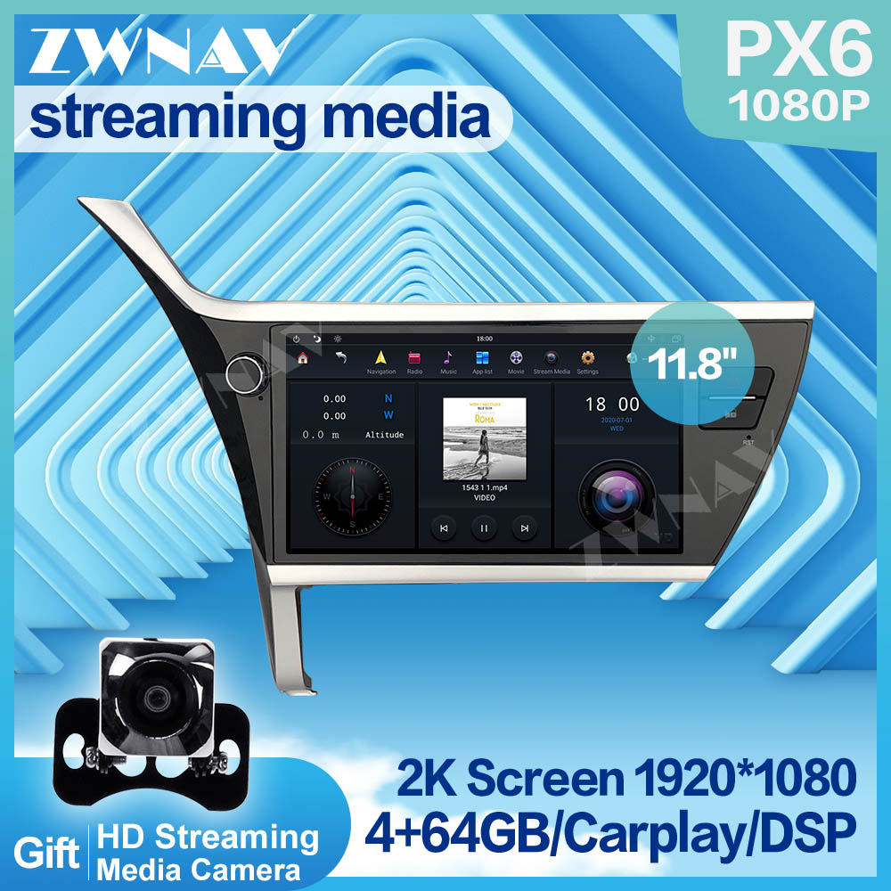 PX6 MAX-PAD 1920*1080 <font><b>Android</b></font> 9.0 Car Multimedia Player streaming media For <font><b>Toyota</b></font> <font><b>Corolla</b></font> 2017 <font><b>2018</b></font> HIFI radio stereo head unit image