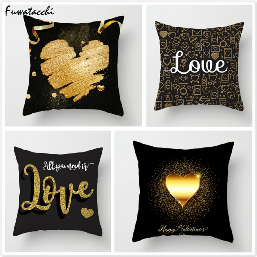 Fuwatacchi Golden Heart Printed Cushion Covers Valentine's Day Love Lips Pillows Cover For Couples Decorative Gifts Pillowcases