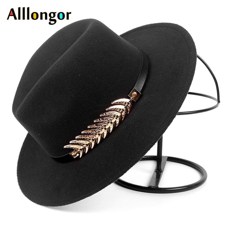Autumn Fashion Fall 2019 Wide Brim Fedora Hat Men Women Black Jazz Cap Felt Chapeau Feutre Homme
