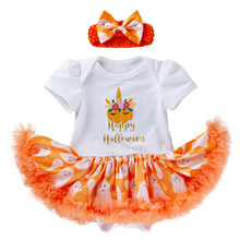 Halloween newborn baby bodysuits short sleevele clothes Girls Rompper Dress Cotton Ghost Print Match Headband