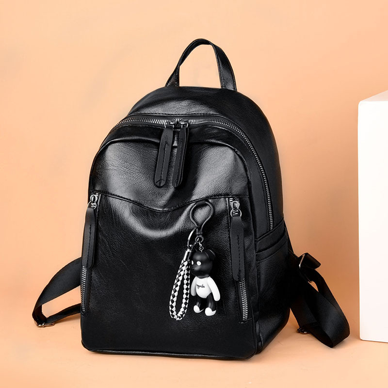 Backpack Women's Korean-style 2018 New Style Fashion Women's Casual Versatile Bag Soft Leather Simple Backpack Women's Popular B