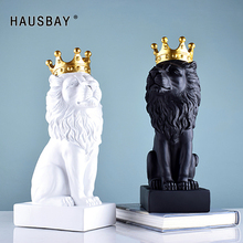 Abstract Resin Lion Sculpture Crown Statue Handicraft Decorations King Modle Home Decoration Accessories Gifts D077