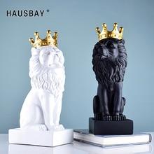 מופשט שרף האריה פיסול קראון האריה פסל מלאכת קישוטי אריה מלך Modle עיצוב הבית אביזרי מתנות D077
