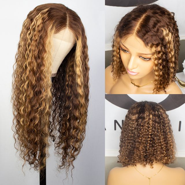 Curly Human Hair Wig Honey Blonde Ombre 13x1 Brazilian Brown Color 2