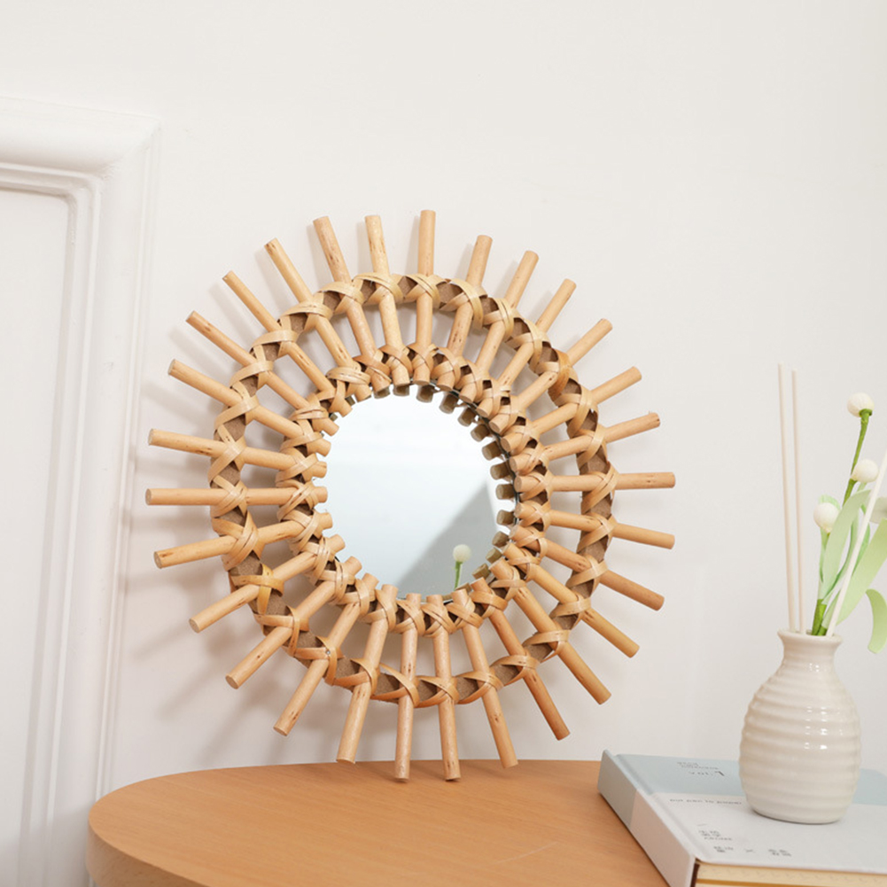 Living Room Round Compact Wall Hanging Home Mirror Gifts Clear Bathroom Art Deco Interior Rattan Dressing Portable Space Saving Decorative Mirrors     - title=