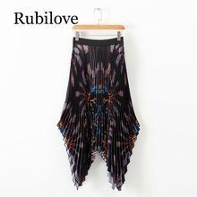 цена на Rubilove New Women Vintage elastic high waist chain print pleated midi skirt asymmetrical casual skirts