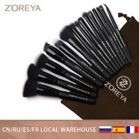ZOREYA 7/15 stücke Schwarz Make-Up Pinsel Set Lidschatten Powder Foundation Concealer Kosmetik Pinsel Make-Up Blending Schönheit Werkzeuge