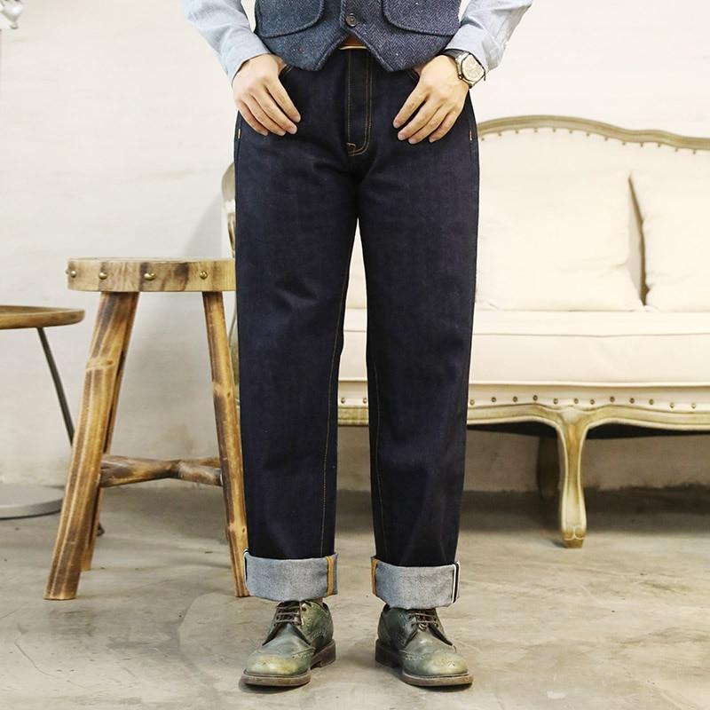 DN-0006 Size 28-42 Read Description! 12oz JAPAN Raw Indigo Selvage Washed Loose Fitting Denim Pants Sanforised Raw Denim Jean