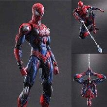 28cm Marvel Spiderman Action Fgure Play Arts Kai Spider-Man PVC Figure  PLAY ARTS Spider Man Peter Parker Model Toys стоимость