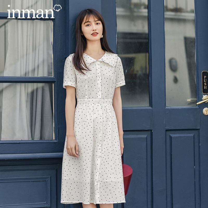 INMAN Summer New Arrival Turn Down Doll Collar Short Sleeve Vintage Dot Pattern Shapped Women Cute Style Dress