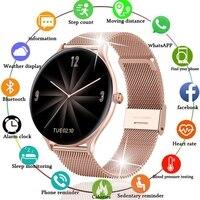 2021 mode Voll kreis touchscreen Farbe Bildschirm Smart Uhr Frauen männer Sport Herzfrequenz Blutdruck Wasserdichte Smartwatch