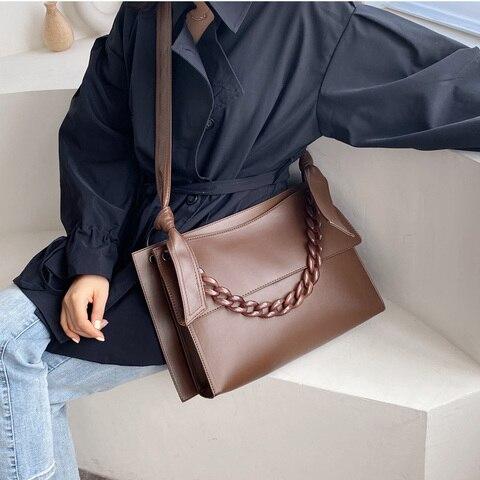Bolsas de Ombro Nova Moda Panelled Acrílico Cadeias Bolsas Femininas Designer Luxo Couro pu Bolsa Crossbody Senhoras Grande Aleta