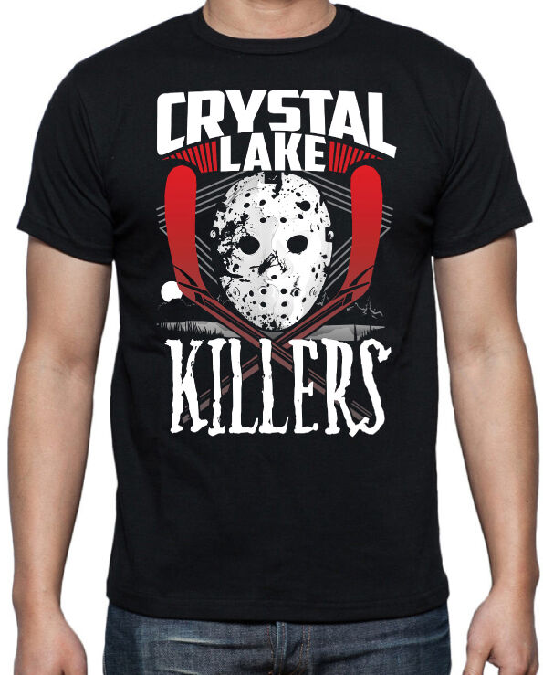 Friday 13th Camp Crystal Lake Jason Voorhees 80's Horror Slasher Movie T Shirt Tee Shirt large size Tops image