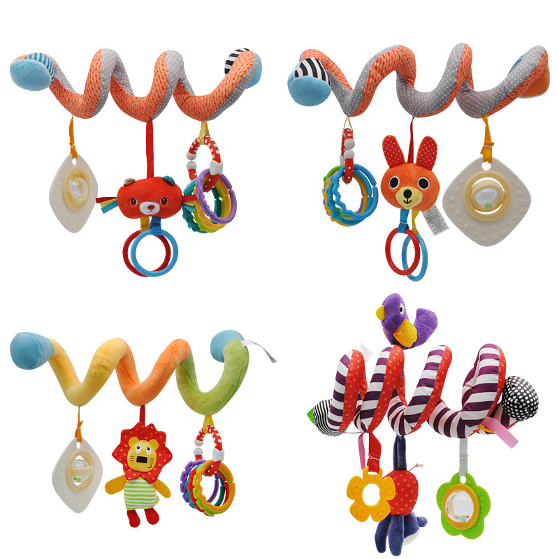 Baby Toys 0-12 Months Hanging Stroller Spiral Rattle Toy Cute Animals Teether Crib Bed Bell Graphic Cognition For Toddler Toys