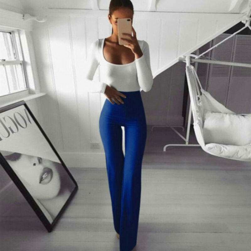 New Fashion Women Sexy Solid Slim High Waist Fit Wide Leg Long Flared Ladies Palazzo Stretch Trousers Work Bell Bottom Pants