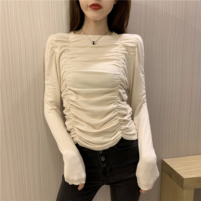 Round Collar Solid Full Sleeve Cropped Sweaters Pullovers Girls Chic Wrinkled Slim Sweater Crop Top For Woman