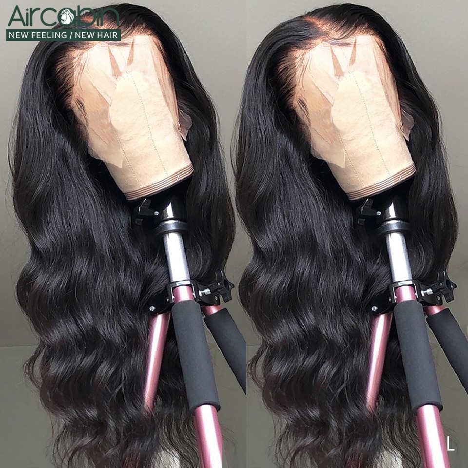 Aircabin 13x6 koronki przodu peruki ciało fala brazylijski 30 cal 150% ludzki włos Glueless koronki zamknięcie peruki dla czarnych kobiet nie Remy