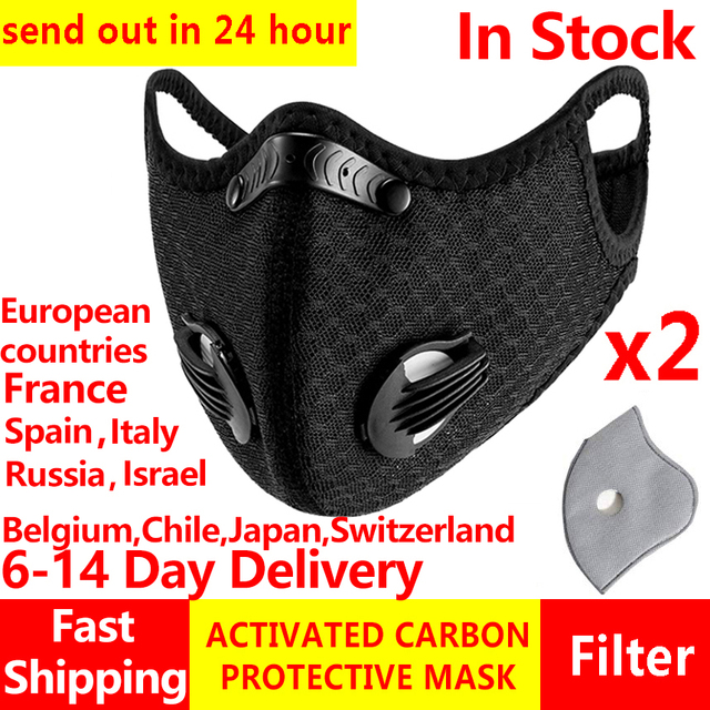 2Pcs masques Anti Face Mask for Mouth Caps Mask With Filter pm2.5 Black Reusable Respirator Protection Wholesale Protective PM25 1