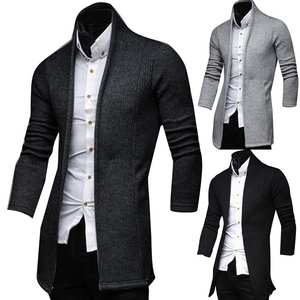 Jackets Coats Blazer Fits-Suit Business-Dress Mandarin-Collar Knitted Vintage Casual