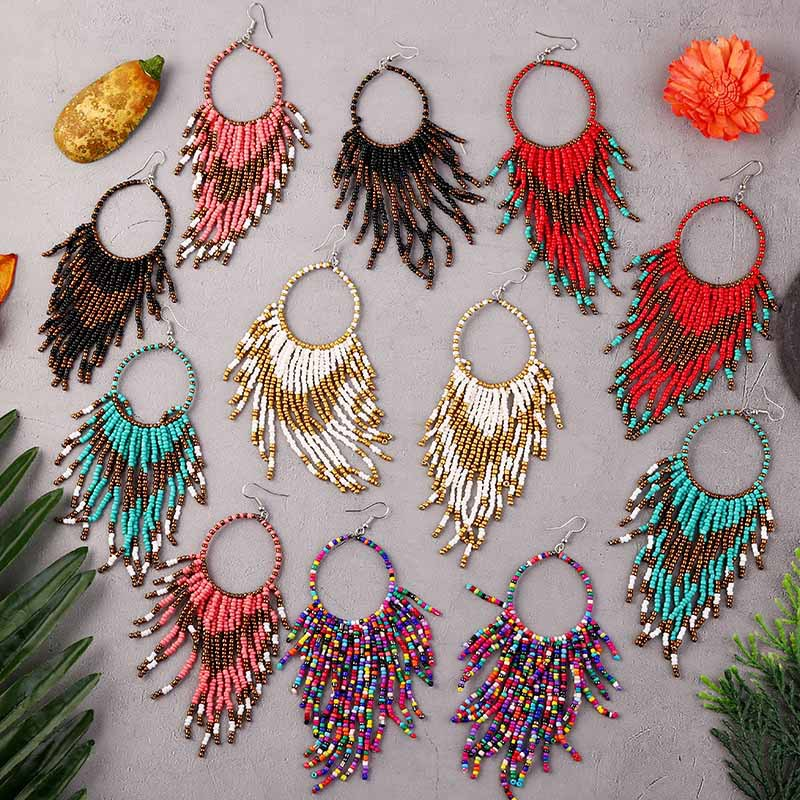 Bohemian Handmade Beaded Long Tassel Earrings For Women Jewelry Multicolor Beads Statement Earrings Ethnic Drop