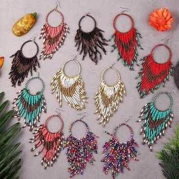 Bohemian Handmade Beaded Long Tassel Earrings For Women Jewelry Multicolor Beads Statement Earrings Ethnic Drop bohemian handmade beaded long tassel earrings for women jewelry multicolor beads statement earrings ethnic drop