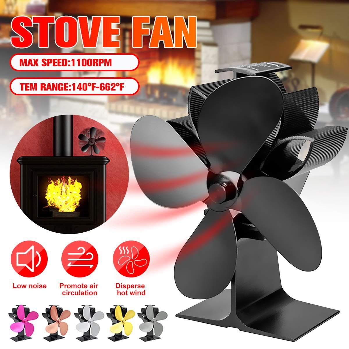 Stove Fan 4 Blade Fireplace Fan Heat Powered Komin Wood Burner Eco Fan Friendly Quiet Home Efficient Heat Distribution 1100rpm