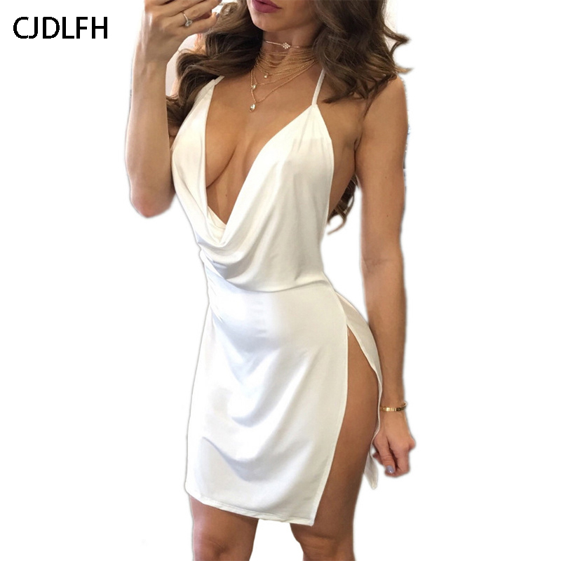 CDJLFH Summer Elegant Club Bodycon Mini Dresses Womens Beach Leisure Vacation  Party Night Sexy Slim Mini Sundress V-neck Dress