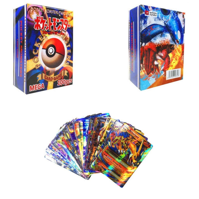 100pcs Pokemon Card GX EX MEGA Game Collection Trading Cards Picachu Shining Cards Battle Carte Children Boys Kids Toy